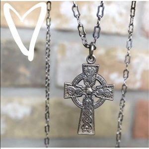 Antique Irish Sterling Serpent Cross Pendant